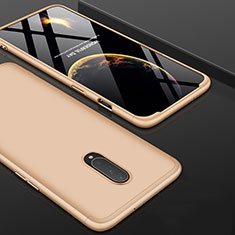 Hard Rigid Plastic Matte Finish Front and Back Cover Case 360 Degrees for OnePlus 7 Pro Gold