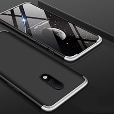Hard Rigid Plastic Matte Finish Front and Back Cover Case 360 Degrees for OnePlus 7 Silver and Black