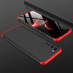 Hard Rigid Plastic Matte Finish Front and Back Cover Case 360 Degrees for OnePlus Nord Red and Black