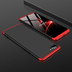 Hard Rigid Plastic Matte Finish Front and Back Cover Case 360 Degrees for Oppo A12e Red and Black