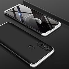 Hard Rigid Plastic Matte Finish Front and Back Cover Case 360 Degrees for Oppo A31 Silver and Black