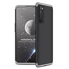 Hard Rigid Plastic Matte Finish Front and Back Cover Case 360 Degrees for Oppo Reno4 Pro 4G Silver and Black