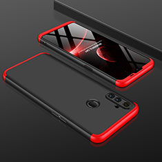 Hard Rigid Plastic Matte Finish Front and Back Cover Case 360 Degrees for Realme C3 Red and Black