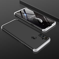 Hard Rigid Plastic Matte Finish Front and Back Cover Case 360 Degrees for Realme C3 Silver and Black