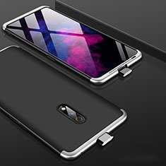 Hard Rigid Plastic Matte Finish Front and Back Cover Case 360 Degrees for Realme X Silver and Black