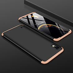 Hard Rigid Plastic Matte Finish Front and Back Cover Case 360 Degrees for Samsung Galaxy A10 Gold and Black