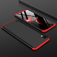Hard Rigid Plastic Matte Finish Front and Back Cover Case 360 Degrees for Samsung Galaxy A10 Red and Black