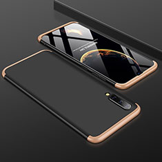 Hard Rigid Plastic Matte Finish Front and Back Cover Case 360 Degrees for Samsung Galaxy A50 Gold and Black