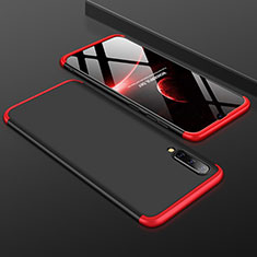 Hard Rigid Plastic Matte Finish Front and Back Cover Case 360 Degrees for Samsung Galaxy A50 Red and Black