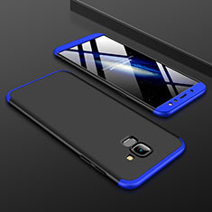 Hard Rigid Plastic Matte Finish Front and Back Cover Case 360 Degrees for Samsung Galaxy A6 (2018) Dual SIM Blue and Black
