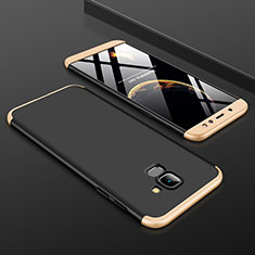 Hard Rigid Plastic Matte Finish Front and Back Cover Case 360 Degrees for Samsung Galaxy A6 (2018) Gold and Black