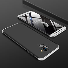 Hard Rigid Plastic Matte Finish Front and Back Cover Case 360 Degrees for Samsung Galaxy A6 (2018) Silver