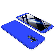 Hard Rigid Plastic Matte Finish Front and Back Cover Case 360 Degrees for Samsung Galaxy A6 Plus Blue