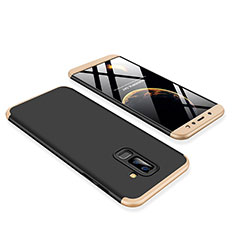 Hard Rigid Plastic Matte Finish Front and Back Cover Case 360 Degrees for Samsung Galaxy A6 Plus Gold and Black