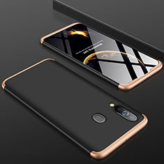 Hard Rigid Plastic Matte Finish Front and Back Cover Case 360 Degrees for Samsung Galaxy A60 Gold and Black