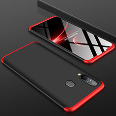 Hard Rigid Plastic Matte Finish Front and Back Cover Case 360 Degrees for Samsung Galaxy A60 Red and Black