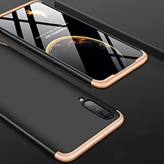 Hard Rigid Plastic Matte Finish Front and Back Cover Case 360 Degrees for Samsung Galaxy A90 5G Gold and Black