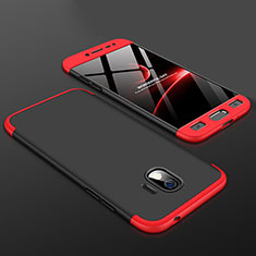 Hard Rigid Plastic Matte Finish Front and Back Cover Case 360 Degrees for Samsung Galaxy J2 Pro (2018) J250F Red and Black