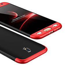 Hard Rigid Plastic Matte Finish Front and Back Cover Case 360 Degrees for Samsung Galaxy J5 (2017) SM-J750F Red and Black