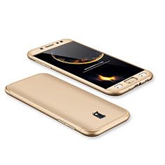 Hard Rigid Plastic Matte Finish Front and Back Cover Case 360 Degrees for Samsung Galaxy J7 Pro Gold
