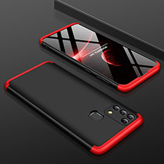 Hard Rigid Plastic Matte Finish Front and Back Cover Case 360 Degrees for Samsung Galaxy M21s Red and Black