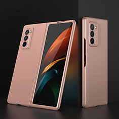Hard Rigid Plastic Matte Finish Front and Back Cover Case 360 Degrees for Samsung Galaxy Z Fold2 5G Gold