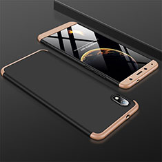 Hard Rigid Plastic Matte Finish Front and Back Cover Case 360 Degrees for Xiaomi Redmi 7A Gold and Black