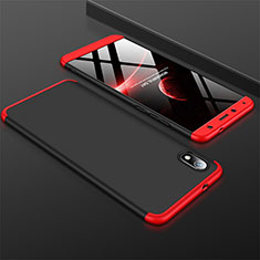 Hard Rigid Plastic Matte Finish Front and Back Cover Case 360 Degrees for Xiaomi Redmi 7A Red and Black