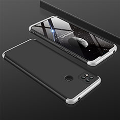 Hard Rigid Plastic Matte Finish Front and Back Cover Case 360 Degrees for Xiaomi Redmi 9C NFC Silver and Black