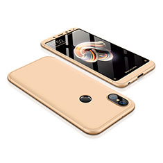 Hard Rigid Plastic Matte Finish Front and Back Cover Case 360 Degrees for Xiaomi Redmi Note 5 Pro Gold