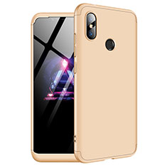 Hard Rigid Plastic Matte Finish Front and Back Cover Case 360 Degrees for Xiaomi Redmi Note 6 Pro Gold