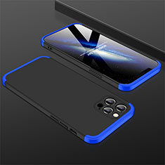 Hard Rigid Plastic Matte Finish Front and Back Cover Case 360 Degrees M01 for Apple iPhone 12 Pro Max Blue and Black