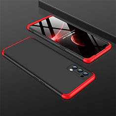 Hard Rigid Plastic Matte Finish Front and Back Cover Case 360 Degrees M01 for Oppo Reno4 4G Red and Black