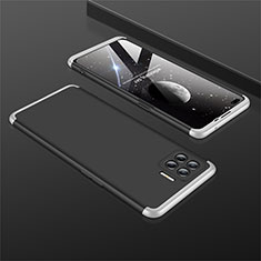 Hard Rigid Plastic Matte Finish Front and Back Cover Case 360 Degrees M01 for Oppo Reno4 Lite Silver and Black