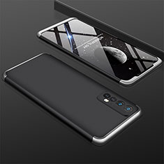 Hard Rigid Plastic Matte Finish Front and Back Cover Case 360 Degrees M01 for Realme 7 Silver and Black