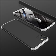 Hard Rigid Plastic Matte Finish Front and Back Cover Case 360 Degrees M01 for Realme C11 Silver and Black