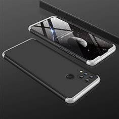 Hard Rigid Plastic Matte Finish Front and Back Cover Case 360 Degrees M01 for Realme C15 Silver and Black