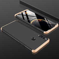Hard Rigid Plastic Matte Finish Front and Back Cover Case 360 Degrees M01 for Samsung Galaxy A20s Gold and Black