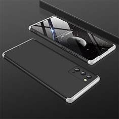 Hard Rigid Plastic Matte Finish Front and Back Cover Case 360 Degrees M01 for Samsung Galaxy Note 20 5G Silver and Black