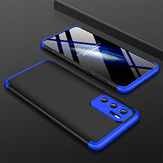 Hard Rigid Plastic Matte Finish Front and Back Cover Case 360 Degrees M02 for Huawei P40 Blue and Black