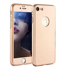 Hard Rigid Plastic Matte Finish Front and Back Cover Case 360 Degrees P01 for Apple iPhone 8 Gold