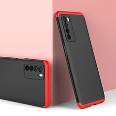 Hard Rigid Plastic Matte Finish Front and Back Cover Case 360 Degrees P01 for Huawei Honor Play4 5G Red and Black