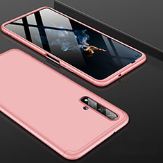 Hard Rigid Plastic Matte Finish Front and Back Cover Case 360 Degrees P01 for Huawei Nova 5T Rose Gold