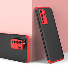 Hard Rigid Plastic Matte Finish Front and Back Cover Case 360 Degrees P01 for Huawei Nova 7 SE 5G Red and Black