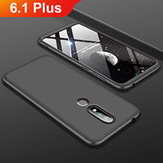 Hard Rigid Plastic Matte Finish Front and Back Cover Case 360 Degrees P01 for Nokia 6.1 Plus Black