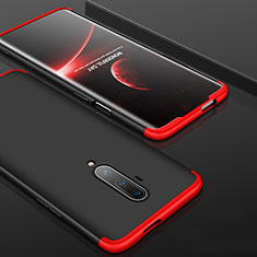 Hard Rigid Plastic Matte Finish Front and Back Cover Case 360 Degrees P01 for OnePlus 7T Pro Red and Black