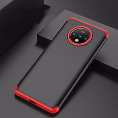 Hard Rigid Plastic Matte Finish Front and Back Cover Case 360 Degrees P01 for OnePlus 7T Red and Black