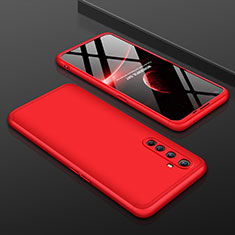 Hard Rigid Plastic Matte Finish Front and Back Cover Case 360 Degrees P01 for Realme X50 Pro 5G Red