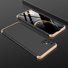 Hard Rigid Plastic Matte Finish Front and Back Cover Case 360 Degrees P01 for Samsung Galaxy A51 5G Gold and Black