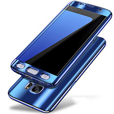 Hard Rigid Plastic Matte Finish Front and Back Cover Case 360 Degrees P01 for Samsung Galaxy S7 Edge G935F Blue
